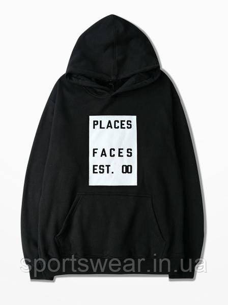 Худи Places+Faces черное с логотипом, унисекс