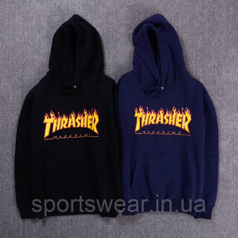 Худи Thrasher Flame черное, темно-синее, унисекс