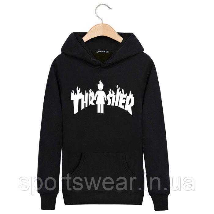 Худи Thrasher & Girl черное с белым логотипом, унисекс