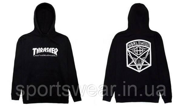 Худи Thrasher Huf Worldwide черное с логотипом, унисекс