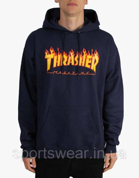 Худи Thrasher Flame темно-синее с логотипом, унисекс