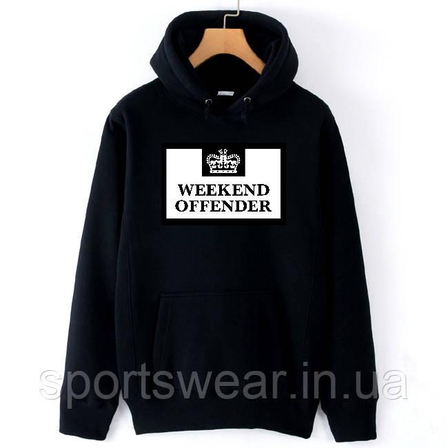 Худи Weekend Offender черное с белым логотипом, унисекс