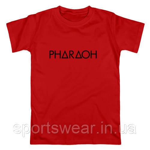 Футболка Pharaoh красная с логотипом, унисекс (мужская,женская,детская)