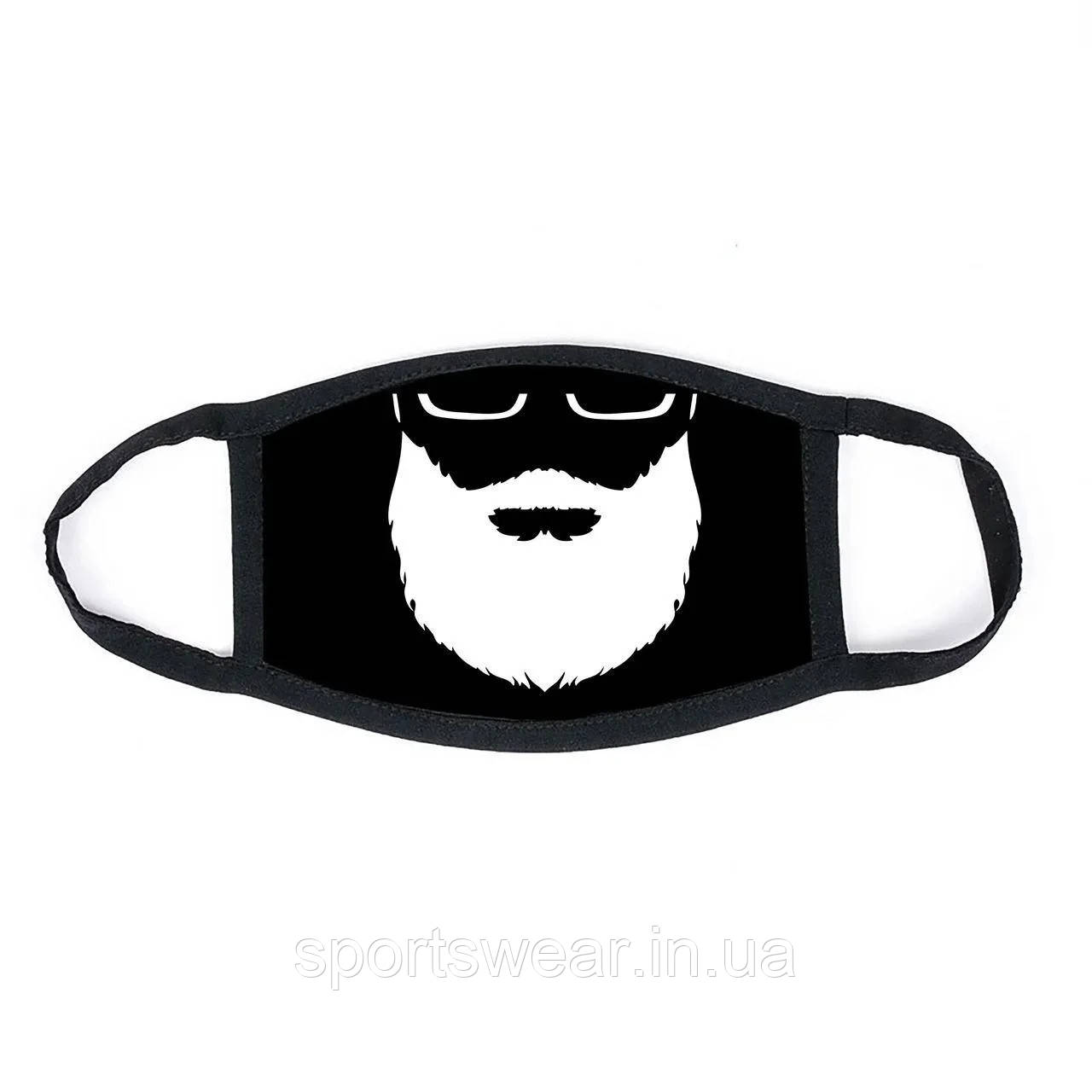 Многоразовая маска с принтом Борода женская,мужская, подростковая