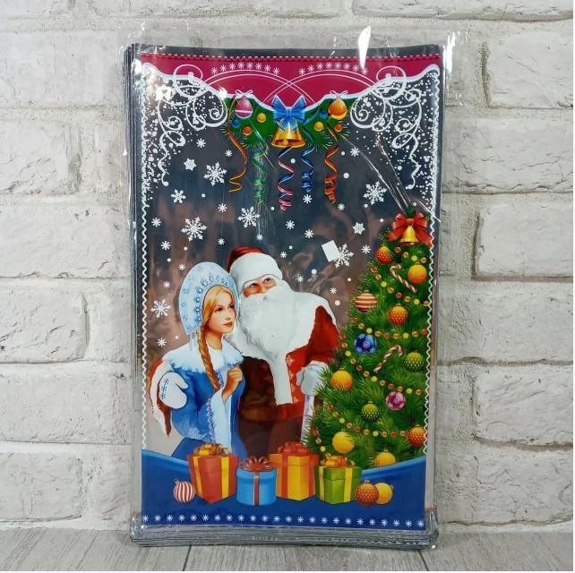 Новогодние пакеты для конфет и подарков (25*40) №34 Новый, 100 шт\пач