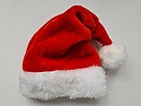 Новогодняя шапка Деда Мороза Колпак Красная МЕХОВАЯ , Санта Клауса Santa Claus для Взрослых, фото 1