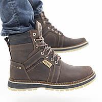 Зимние мужские ботинки теплые из натуральной кожи, черные
