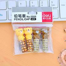 """Ковпачок для олівця Deli 0506 мікс """"Звірята"""" 4шт,блист/пак, фото 3"""