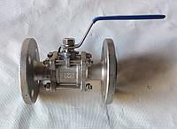 Кран шаровой трехсоставной фланцевый нержавеющий, Ду 25 / шар-нж сталь 304 / PTFE / PN40