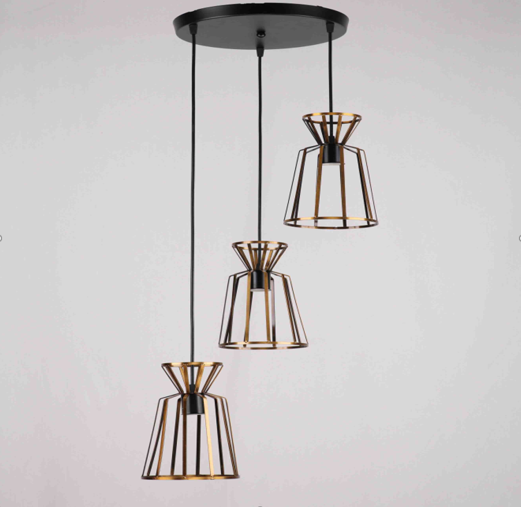 Люстра подвесная на 3 лампы лофт бронза  29-D288/3 BK+ZG