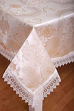 Скатерть на праздничный стол 3D 120-152 Праздничная Розы и узоры