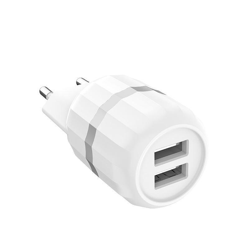 СЗУ 2USB Hoco C41A White + USB Cable MicroUSB (2.4A)