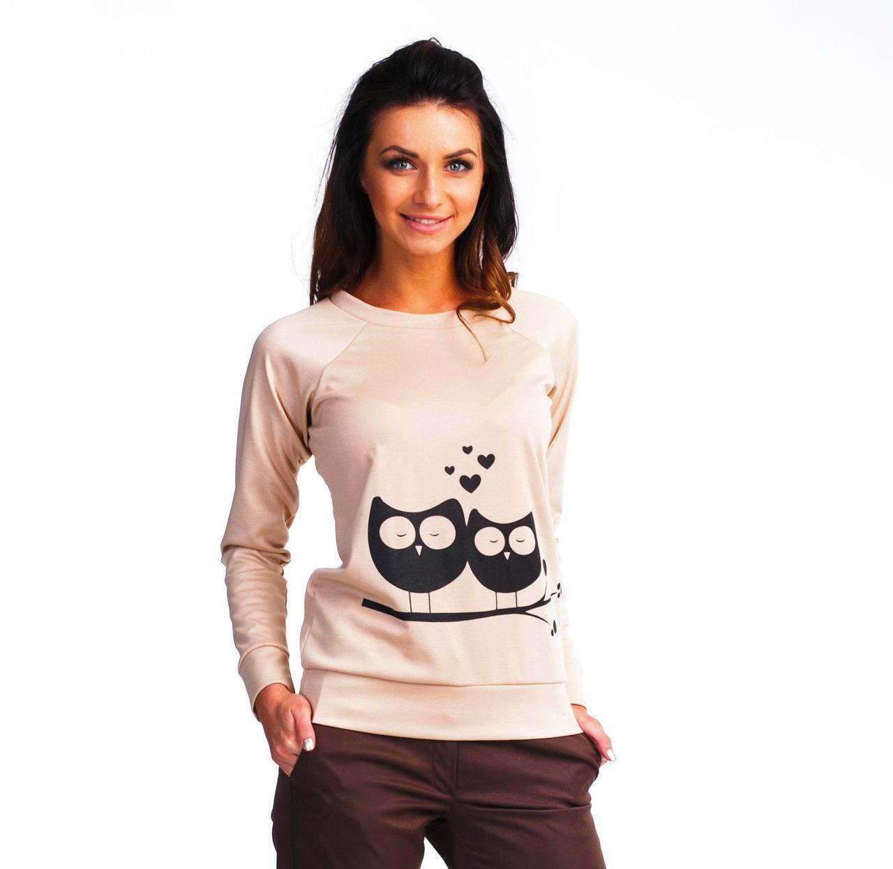 ae7dd7cf4e2 Милый молодежный свитшот в бежевом цвете с рисунком сова - Оптово-розничный  магазин одежды