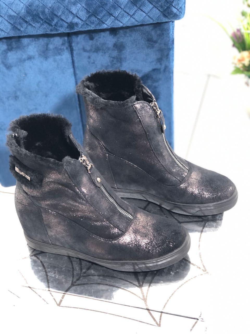 Зимние женские ботинки на скрытой танкетке Vensi V4