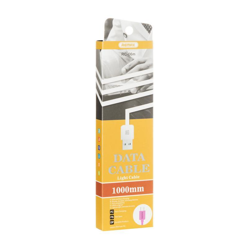 USB кабель Remax Light Speed RC-006m microUSB Pink 1m (5-027)