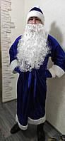 Новогодний костюм Деда Мороза длинный велюровый новогодний костюм, фото 1