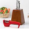 Точилка механическая для кухонных ножей Benson BN-5 красная | ножеточка в 3 этапа: от правки до идеальной