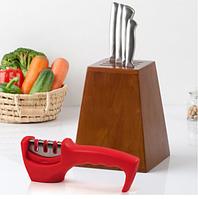 Точилка механическая для кухонных ножей Benson BN-5 красная | ножеточка в 3 этапа: от правки до идеальной, фото 1