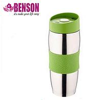 Термокружка металлическая с поилкой Benson BN-40 зеленая (380 мл) | термостакан из нержавеющей стали |