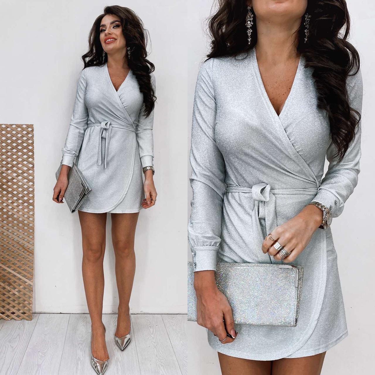 Женское коктейльное платье на запах из люрекса