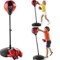Детский тренажер для бокса Sport Toys Punching Ball | напольная боксерская груша на подставке + перчатки, фото 1