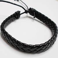 Кожаный браслет фенечка на руку черный плетённый., фото 1