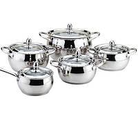 Набір посуду з нержавіючої сталі 10 предметів Maestro Jambo Apple MR-3509-10 | каструля Маестро, ківш Маестро, фото 1