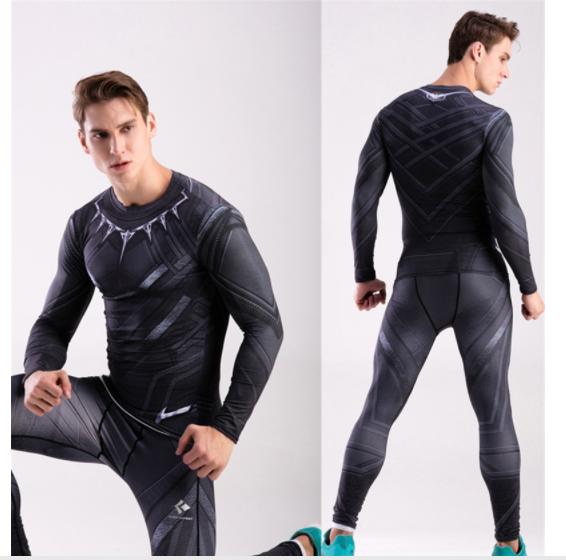 Компрессионная одежда 2в1 черная пантера М, ХХЛ