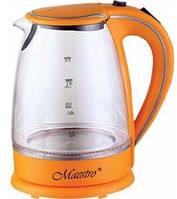 Скляний чайник Maestro MR-064 (1.7 л, 2000 Вт, підсвітка)   електричний чайник Маестро помаранчевий, фото 1
