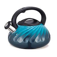 Чайник зі свистком з нержавіючої сталі Maestro MR-1321 (3 л) синій | металевий чайник Маестро, Маестро, фото 1