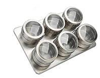 Набор баночек для специй и приправ на магнитной подставке Benson BN-006 из 6 сосудов | спецовник 6 шт, фото 1