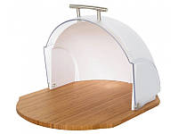 Хлебница деревянная с пластиковой крышкой Maestro MR-1678 (36 х 20 х 26 см, откидная крышка), фото 1