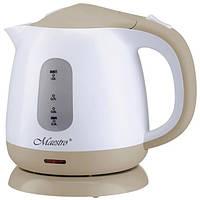 Электрочайник Maestro MR-012 белый с коричневым (1 л, 1100 Вт) | электрический чайник Маэстро, Маестро, фото 1