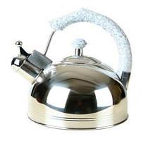 Чайник со свистком из нержавеющей стали Maestro MR-1309 (3 л) белый | металлический чайник Маэстро, Маестро, фото 1