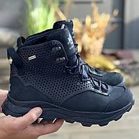 Зимние мужские высокие ботинки черные из натуральной кожи, теплые