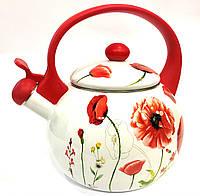 Эмалированный чайник со свистком Benson BN-100 белый с красным (2.2 л)   кухонные чайники Бенсон, Бэнсон