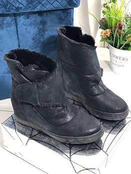 Черные зимние ботинки на скрытой танкетке ботинки Vensi V7