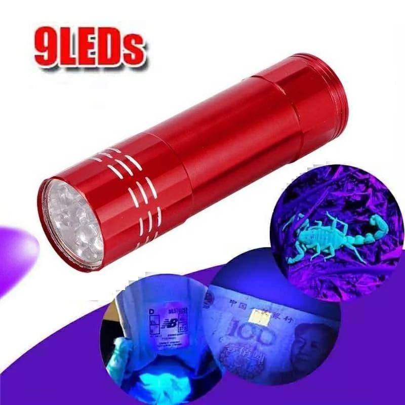 Алюминиевый УФ фонарик детектор пятен, купюр. Питание 3хААА. Красный