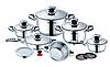 Набор посуды Haus Lux HL-16RC кастрюли сковорода-сотейник пароварка и ковш из 16 предметов