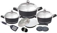 Набор посуды Barton Steel ВS 6813 12 предметов кастрюли сковорода с крышками, фото 1