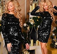 Вечернее облегающее платье велюр с пайетками, фото 1