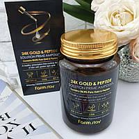 Ампульная сыворотка Farmstay 24 K Gold & Peptide Solution Prime Ampoule с золотом и пептидами, 250 ml, фото 1