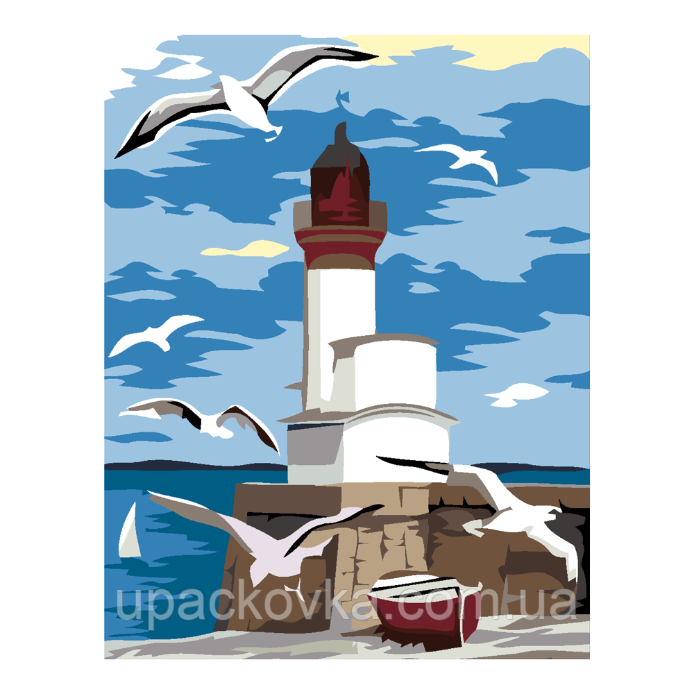 "Набор-стандарт, картина по номерам, ""Маяк и чайки, 35х45см, ROSA START"