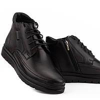 Зимние мужские ботинки черные высокие из натуральной кожи, теплые