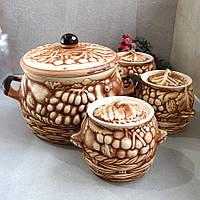 Большой керамический набор горшочков для духовки из красной глины, фото 1