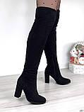 Женские демисезонные ботфорты на каблуке эко замш, фото 2