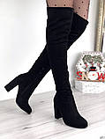 Женские демисезонные ботфорты на каблуке эко замш, фото 3