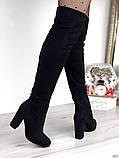 Женские демисезонные ботфорты на каблуке эко замш, фото 5