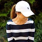 Кепка Бейсболка Мужская Женская Polo Ralph Lauren с тканевым ремешком Белая с Черным лого, фото 5
