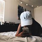 Кепка Бейсболка Мужская Женская Polo Ralph Lauren с тканевым ремешком Белая с Черным лого, фото 6